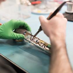 Hand-soldering the circuit